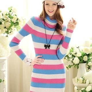 Dabuwawa - Turtleneck Striped Knit Dress