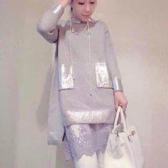 Rainbeam - 套裝: 針織上衣 + 蕾絲連衣裙