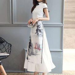 茜珞萊 - 印花七分袖長旗袍