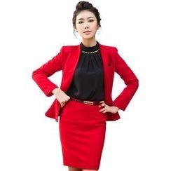 Aision - Wool Blend Blazer / Blouse / Skirt