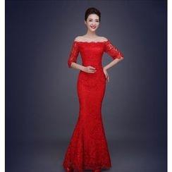 Gracia - Elbow-Sleeve Mermaid Sheath Wedding Dress