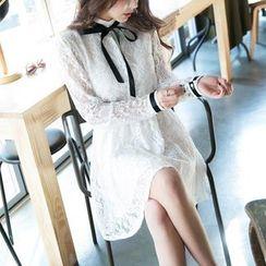 Jolly Club - Long-Sleeve Tie-Neck Lace Dress