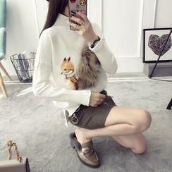 FR - Fox Print Mock Neck Sweater