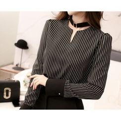 Marlangrouge - Open-Placket Striped Top with Choker