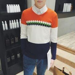 Y!SHIER - Long-Sleeve Color-Block Knit Top