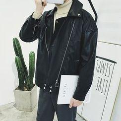 DragonRoad - Oversized Faux Leather Jacket