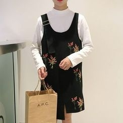 OCTALE - Floral Embroidered Pinafore Dress