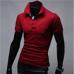 WIZIKOREA - Short-Sleeve Colored Polo Shirt