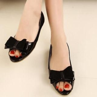 Nongli - Genuine Leather Lining Bow-Accent Peep-Toe Flats