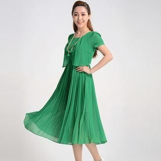 9mg - Short-Sleeve Lace-Back Pleated Dress