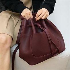 QNIGIRLS - Drawstring Bucket Bag