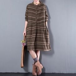 Ranche - Striped Long-Sleeve A-Line Dress