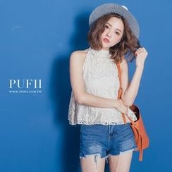 PUFII - Sleeveless Lace Top