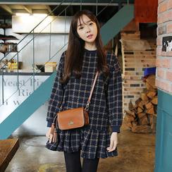 Envy Look - Check Ruffle-Hem Mini Dress