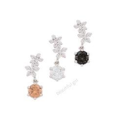 Miss21 Korea - Rhinestone-Flower Dangle Earrings
