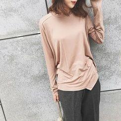 A7 SEVEN - Long Sleeve Asymmetrical Hem T-Shirt