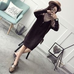 Qimi - Color Panel Sweater Dress
