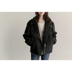 UPTOWNHOLIC - Zip-Detail Wool Blend Jacket