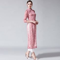 Elabo - Set: Printed 3/4-Sleeve Cheongsam + Wide Leg Pants
