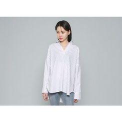 Envy Look - Open-Placket Pinstriped Shirt