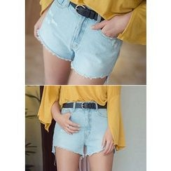 Chlo.D.Manon - Cutout-Hem Distressed Denim Shorts