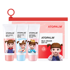 ATOPALM - Essential Travel Kit: MLE Lotion 30ml + Top To Toe Wash 30ml + Soothing Gel Lotion 30ml + MLE Cream 3ml x 5pcs