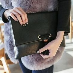 JVLLY - Tasseled Flap Clutch with Strap