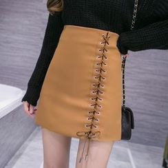 Sienne - Lace Up A-line Skirt