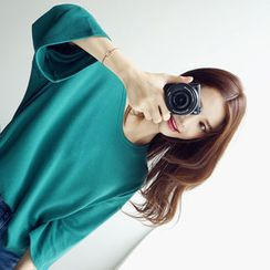 chuu - Round-Neck Drop-Shoulder T-Shirt