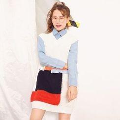 Emeline - 拼色粗针织背心裙