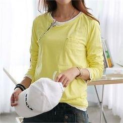 CHICFOX - Long-Sleeve Zip-Detail T-Shirt