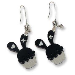 Sweet & Co. - Sweet Black Bunny Cupcake of Heart Swarovski Crystal Dangle Earrings
