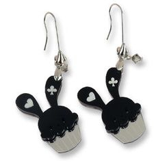 Sweet & Co. - Sweet Black Bunny Cupcake of Heart Swarovski Crystal Dangle Earrings