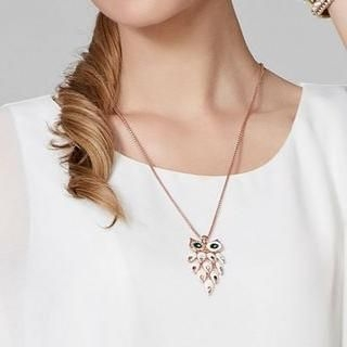 O.SA - Rhinestone Owl Necklace