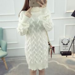 Dream Girl - Cable Knit Turtleneck Sweater Dress