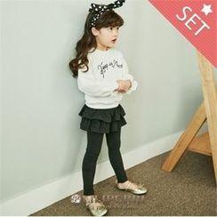 LILIPURRI - Set: Lettering T-Shirt + Inset Skirt Leggings