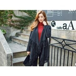 UUZONE - Fringed Shawl-Collar Jacket