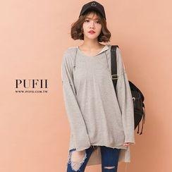 PUFII - 正韓前短後長不修邊連帽T長版上衣