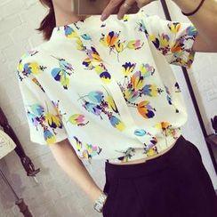 Chika - Short-Sleeve Printed Chiffon Shirt