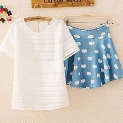ColourShop - Set: Short-Sleeve Top + Cloud-Print A-Line Skirt