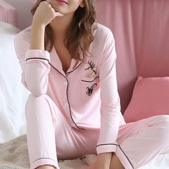 Saacheer - Pajama Set: Deer Print Long Sleeve Top + Pants