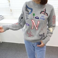 DANI LOVE - Round-Neck Embroidered Sweater