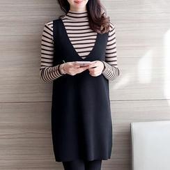 Ageha - Set: Striped Long Sleeve Knit Top + Plain Knit Tank Dress