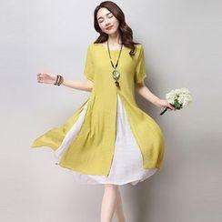 GLIT - Linen-blend Short-Sleeve Dress