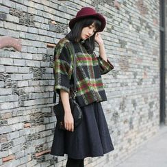 Forest Girl - Woolen Plaid 3/4-Sleeve Top