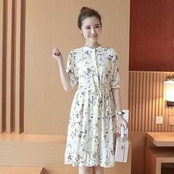 Ashlee - Elbow-Sleeve Floral Chiffon Midi Dress