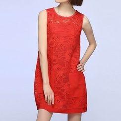 Liya Closet - Pocketed Mini Lace Tank Dress