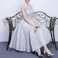 名贵风格 - 亮片盖袖晚装裙