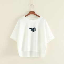 Mushi - Whale Embroidered Short Sleeve T-Shirt