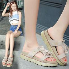 Kicko - Fringed Platform Slide Sandals